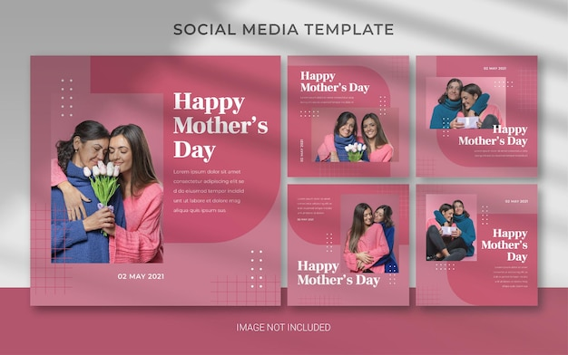 Modello modificabile per la festa della mamma per post di instagram sui social media