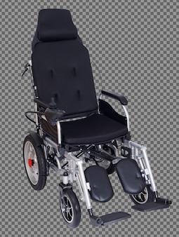 Sedia a rotelle elettrica motorizzata per paziente anziano anziano che non può camminare, isolata. una donna anziana va fuori dall'ospedale di casa, viaggia gratuitamente all'aperto come disabile. tracciato di ritaglio sfondo bianco