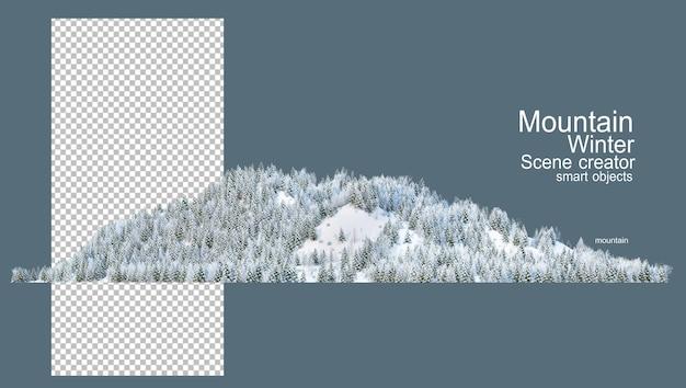 Montagne con pini in inverno Psd Premium