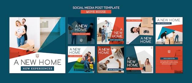 Spostare il modello di post sui social media di casa Psd Premium