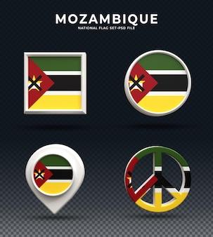 Bandiera del mozambico 3d rendering pulsante a cupola e su base lucida