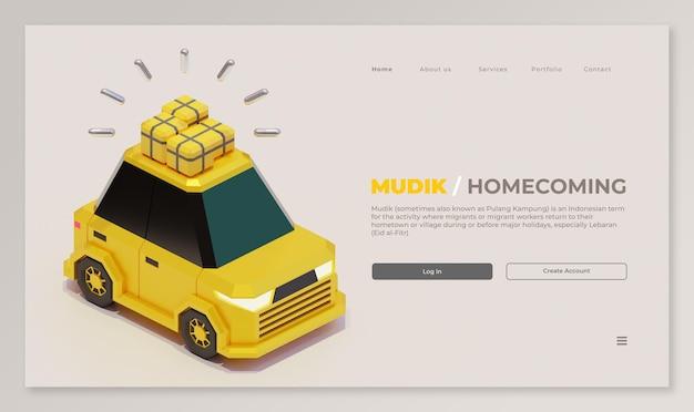 Modello di pagina di destinazione mudik con rendering 3d di auto