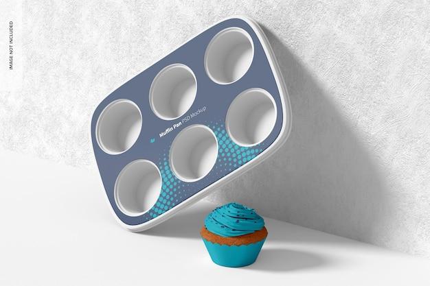 Muffin pan mockup, appoggiato