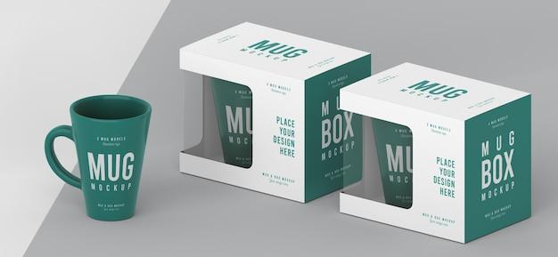 Composizione mock-up scatola tazza