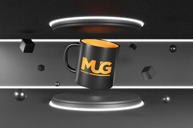 Mockup di tazza sul mini podio con luce al neon