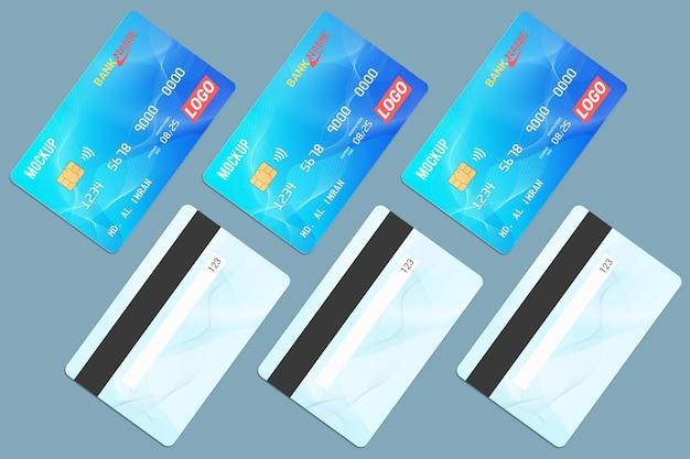 Progettazione di mockup di smart card con più carte di debito