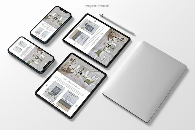 Mockup di siti web reattivi per più dispositivi