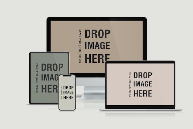 Mockup di siti web responsive per più dispositivi