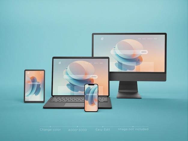 Multi escogita il rendering 3d del mockup del sito web reattivo moderno