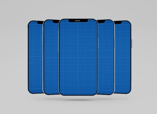 Mockup creativo multiplo dello schermo dei cellulari