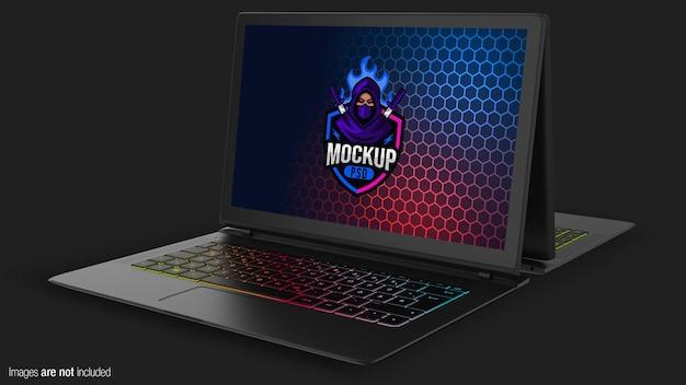 Mockup di laptop da gioco multipli vista ravvicinata