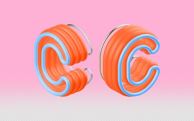 Mockup psd di lettera c 3d a prospettiva multipla