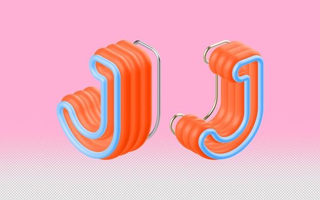 Mockup psd lettera j 3d a prospettiva multipla