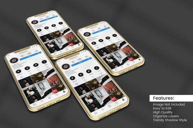 Mockup mobile a schermo multiplo per post sui social media