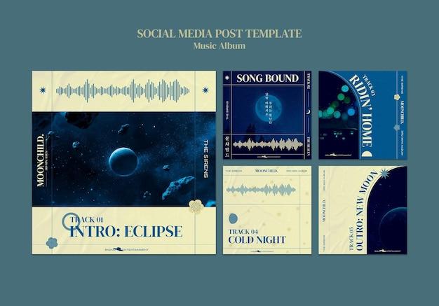 Modello di progettazione di post sui social media per album musicali