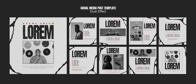 Post sui social media di album musicali con effetto polvere
