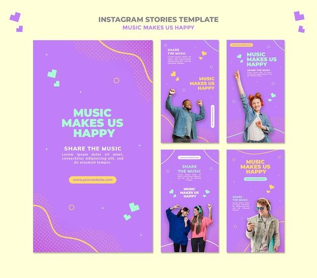 Modello di storie di instagram di concetto di musica
