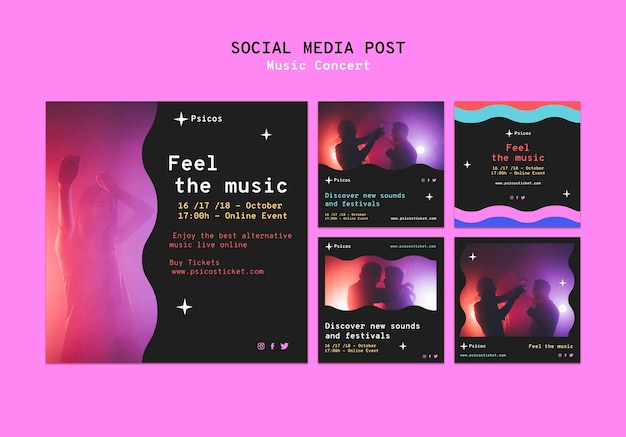 Set di post sui social media per concerti di musica
