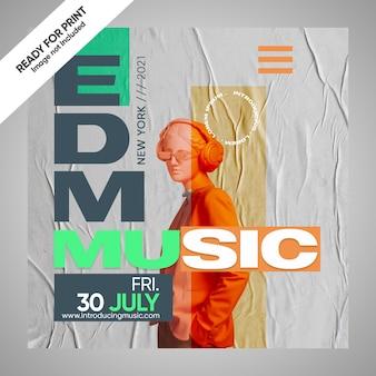 Poster per social media con copertina musicale