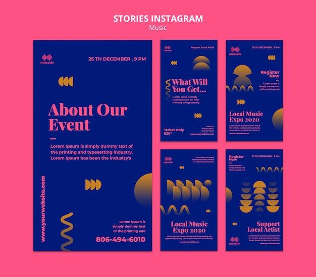 Modello di storie di instagram di expo musicale
