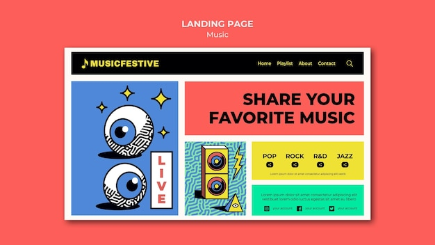 Pagina di destinazione del festival musicale