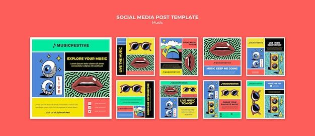 Modello di post sui social media del festival musicale Psd Premium