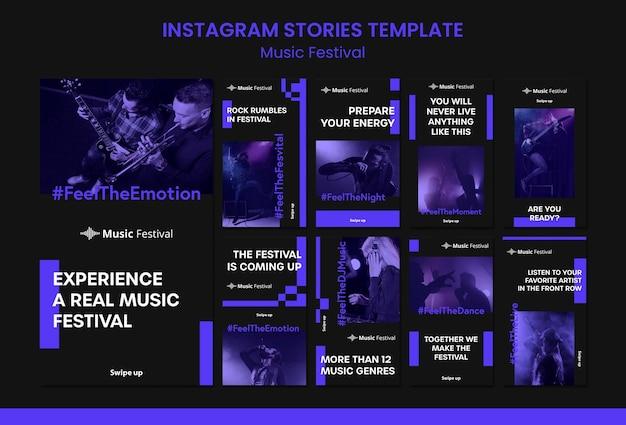 Modello di storie di instagram di festival di musica Psd Premium