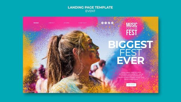 Modello di pagina di destinazione del festival musicale