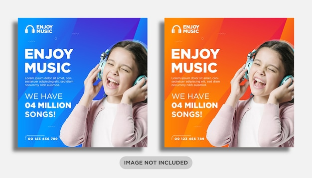 Modello di banner post sui social media per musica o cuffie