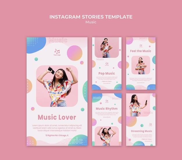 Modello di storie instagram amante della musica