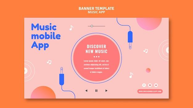 Modello di banner per app per dispositivi mobili di musica