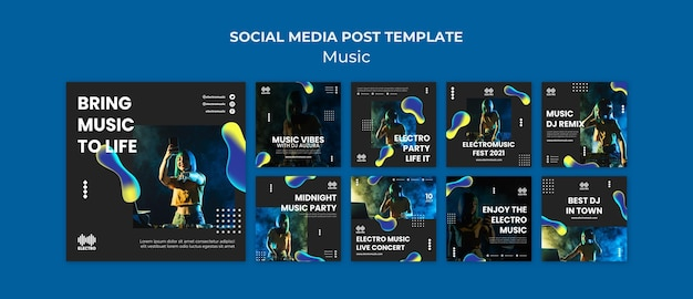 Modello di post di instagram per feste musicali