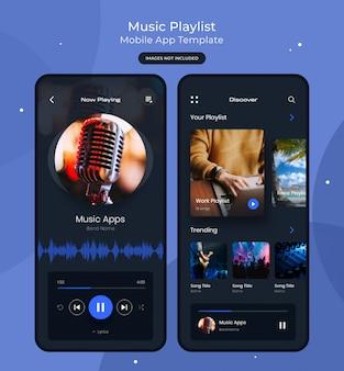 Modello di app mobile playlist musicale