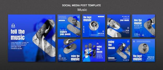 Modello di post sui social media musicali