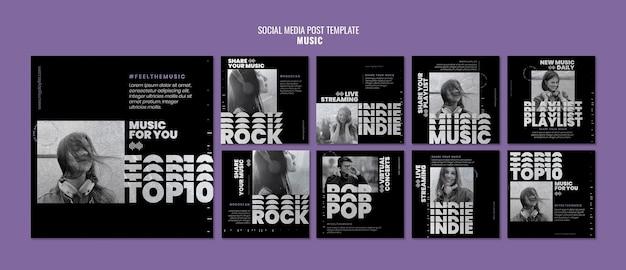 Modelli di post sui social media musicali con foto