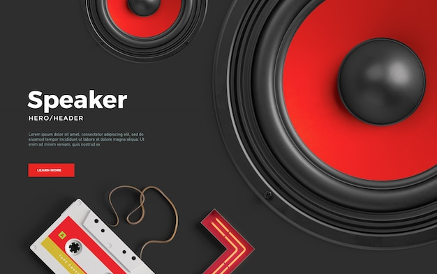 Music speaker hero header custom scene