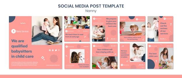 Modello di post sui social media dei servizi di bambinaia