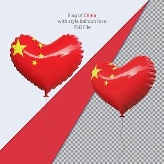 Bandiera nazionale della cina amore palloncino 3d