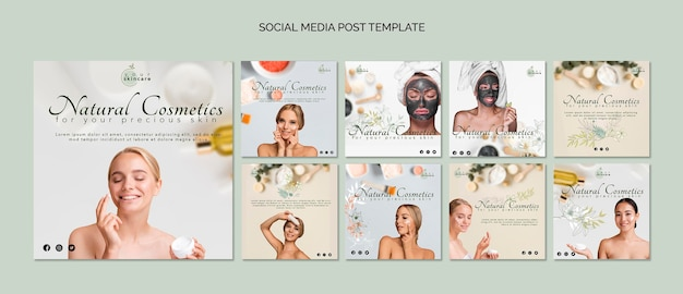 Modello di post di social media cosmetici naturali