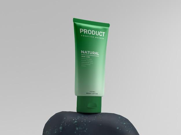 Verde cosmetico fresco naturale su pietra mockup di visualizzazione del prodotto pacchetto di bellezza