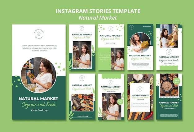 Modello di storie di instagram di concetto di mercato naturale