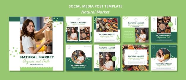 Modello di post sui social media concetto di mercato naturale