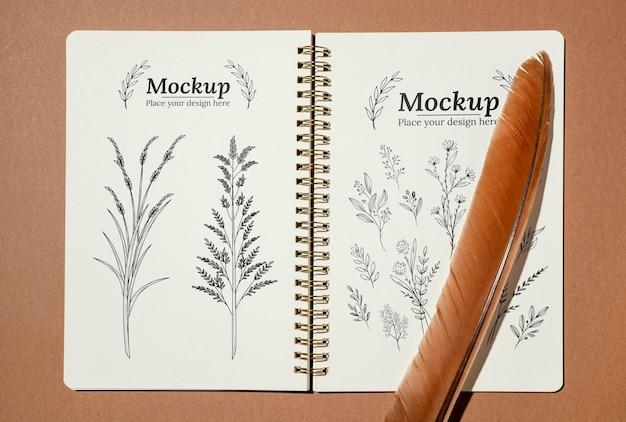 Mock-up di quaderno in materiale naturale