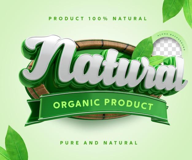 Etichetta di prodotto biologico naturale 3d 100 percentuale di adesivo simbolo