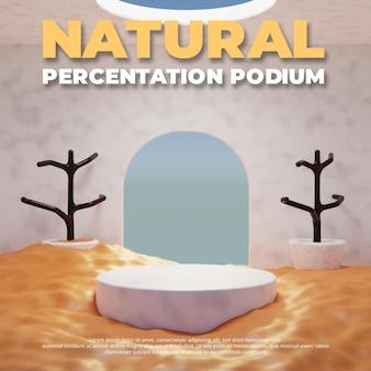 Podio in sabbia naturale, esposizione del prodotto