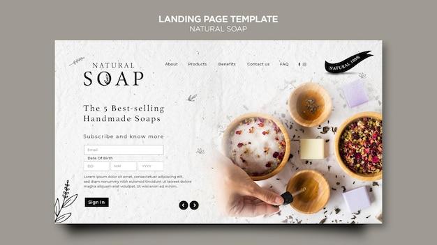 Modello di pagina di destinazione del concetto di sapone naturale