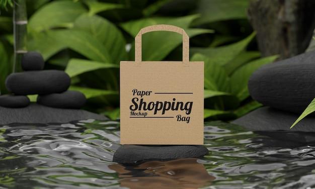 Modello di borsa della spesa in carta con concetto di natura