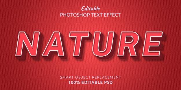 Effetto di testo modificabile di natura stile photoshop