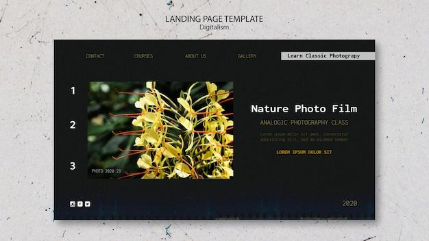 Pagina di destinazione del modello di pellicola fotografica della natura