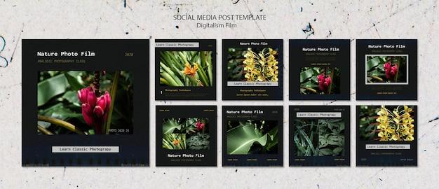 Post dei social media del modello di pellicola fotografica della natura